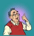 surprised elderly man with glasses thumb up like vector image vector image