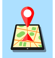 Tablet with map application and pin vector image vector image