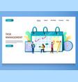 task management website landing page design vector image