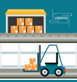 warehouse with boxes for shipping and stackers vector image vector image