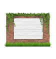 Wooden sign brick wall grass and ivy vector image vector image