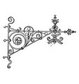 wrought-iron bracket pressing vintage engraving vector image vector image