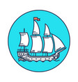 ancient wooden ship with white sails on water vector image
