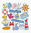 nautical marine doodle with fish boat vector image