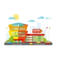 Supermarket Building Facade with Parking in front vector image