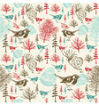 Vintage Birds Forest Pattern vector image