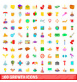 100 growth icons set cartoon style vector image vector image
