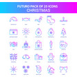 25 blue and pink futuro christmas icon pack vector image