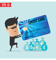 A thief with a credit card vector image vector image