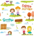 Autumn pattern with happy smiling kids vector image vector image