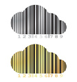barcode in the form of a cloud on a gold and vector image