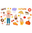 big beautiful autumnal set with girl coffee vector image vector image