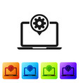 black laptop and gear icon isolated on white vector image vector image