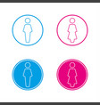 blue and pink round wc symbols man and woman vector image
