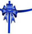 blue bow on a white background vector image vector image