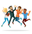 business people jumping celebrating vector image vector image