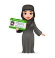 cartoon character female arab car driver license vector image vector image