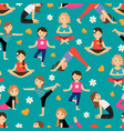 cartoon girls yoga seamless pattern vector image vector image