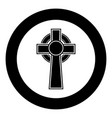 celtic cross icon black color in circle round vector image vector image