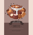 chocolate sweets poster best vector image vector image