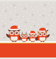 christmas greeting design with cute owl family vector image
