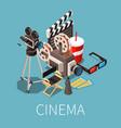 cinema essentials isometric composition vector image