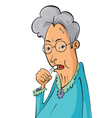 Elderly woman coughing vector image vector image