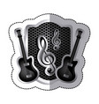 emblem electric guitar with music symbol icon vector image vector image