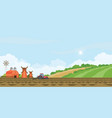 farmer driving a tractor in farmed land and vector image