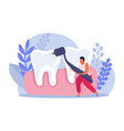 flat dental health composition vector image vector image