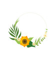 floral circle frame with sunflower green leaves vector image vector image