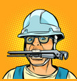 funny working professional plumber with a wrench vector image vector image