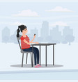 girl teenager looks in smartphone table in cafe vector image vector image