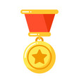 golden medal with star with ribbon military vector image vector image