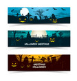 halloween greetings banners set vector image