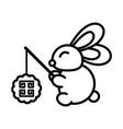 happy mid autumn festival cute rabbit vector image vector image