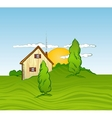 House with trees vector image vector image