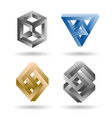 impossible 3d shape set vector image vector image