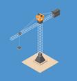 industrial construction crane isometric crane vector image vector image