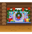 inside old cozy wooden village house home vector image vector image