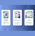 internet trolling mobile app onboarding screens vector image