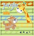 jungle animals cartoon giraffe with tiger on vector image vector image