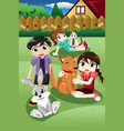 kids playing with their pets vector image