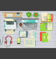 modern office desk elements set view from above vector image