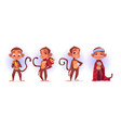 monkey cartoon characters cute ape mascots set vector image