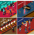 Musicians People Isometric 2x2 Icons Set vector image vector image