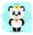 panda in the crown and pendant in the form of a vector image