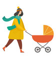 parent with pram in autumn park motherhood vector image vector image