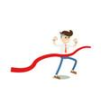 running businessman at finish icon vector image
