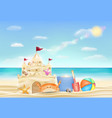 sand castle on a sea sand beach vector image vector image
